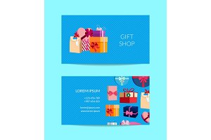 Vector gift service, shop business card template with gift boxes or packages