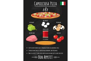Capriciosa pizza vintage poster on chalkboard