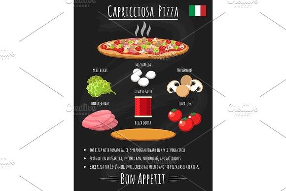 Capriciosa Pizza Vintage Poster On Chalkboard
