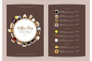 Vector coffee shop vertical menu template