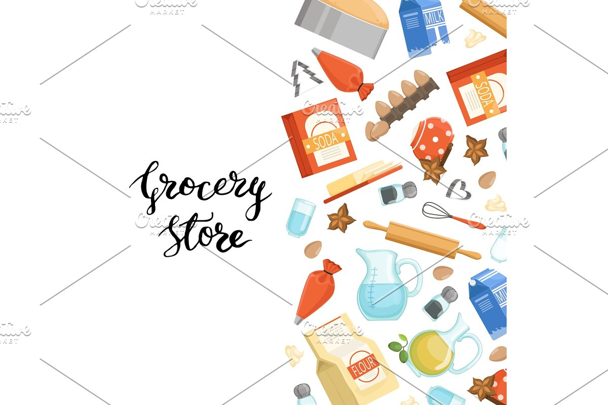 Vector cartoon cooking ingridients or groceries background illustration with lettering