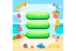 Vector cartoon style buttons with text for game design on beach background with ice cream, surfboard, ball