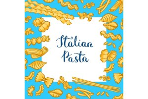 Vector cartoon colored pasta types background with white square with place for text
