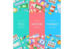 Vector cartoon pharmacy or medicines vertical banner templates