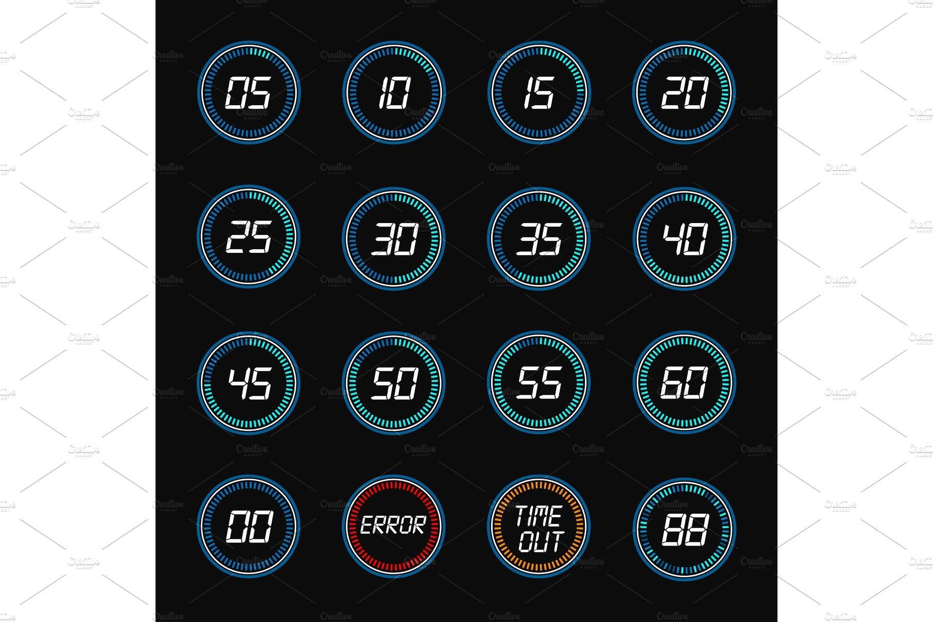 Digital countdown timer clock design icons ~ Graphic ...