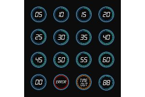 Digital countdown timer clock design icons