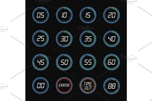 Digital countdown timer clock design icons