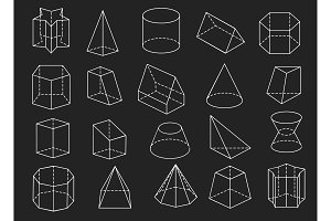 Line geometric shapes 3d icons set