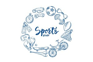 Vector hand drawn sports tools circle concept with lettering in center