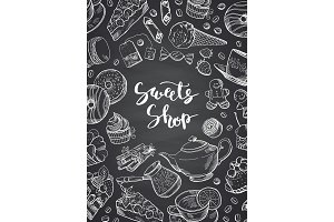 Vector hand drawn contoured sweets on chalkboard poster illustration with place for text