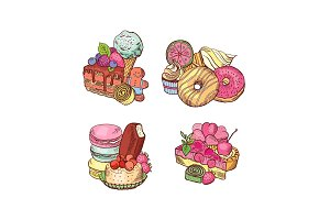 Vector hand drawn sweets piles set