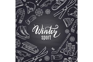 Vector hand drawn winter sports equipment and attributes on black chalkboard with place for text in center