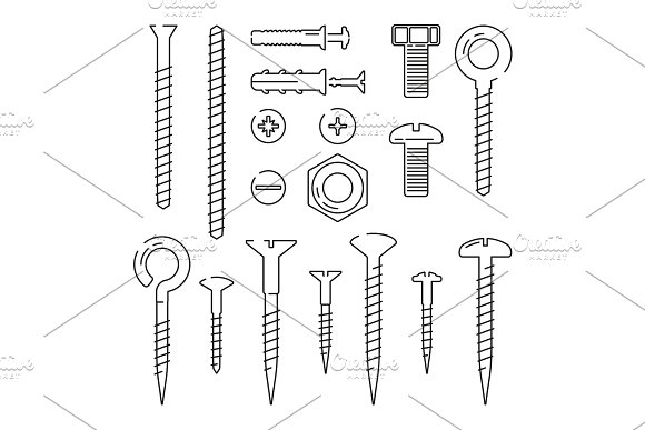 Monoline pictures of bolts, nuts, nails and screws. Vector illustrations set