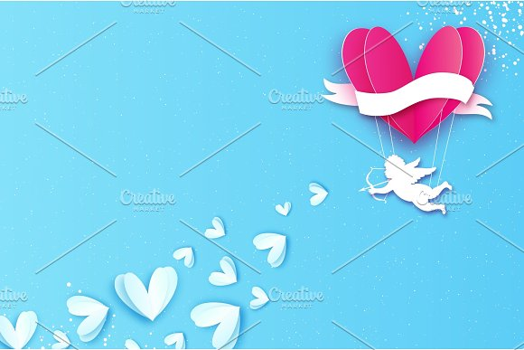 Love Heart Pink hot air balloon flying. Flying Cupids - little angesl in paper cut style. Origami little boy - Cherub. Happy Valentine day. Ribbon tape for text. Romantic Holidays. 14 February on blue