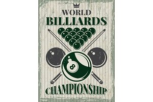 Retro sport poster for billiard club. Vector design template with place for your text