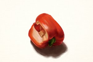 Bright red pepper, digital painting