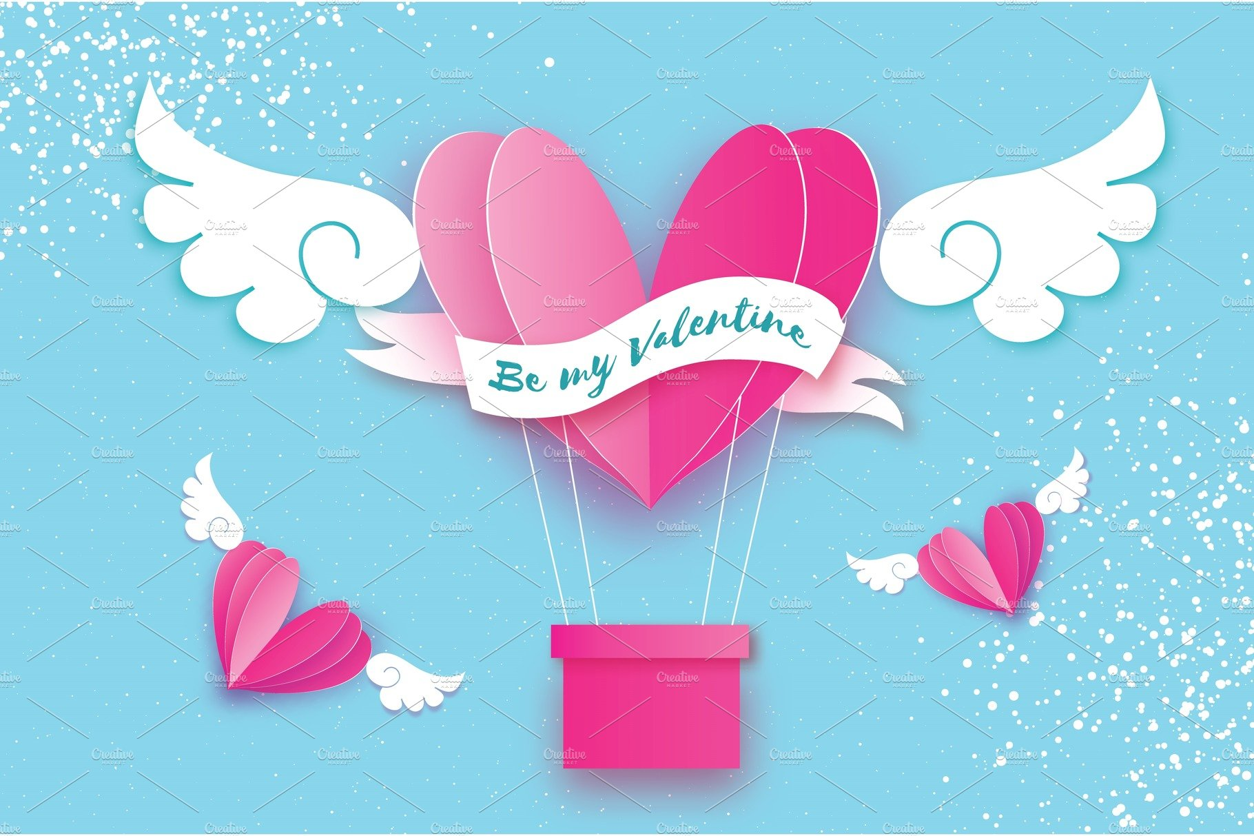 Happy valentine day heart pink hot air balloon flying love in heart pink hot air balloon flying love in paper cut style origami heart and angel wings winged heart ribbon tape for text romantic holidays jeuxipadfo Choice Image