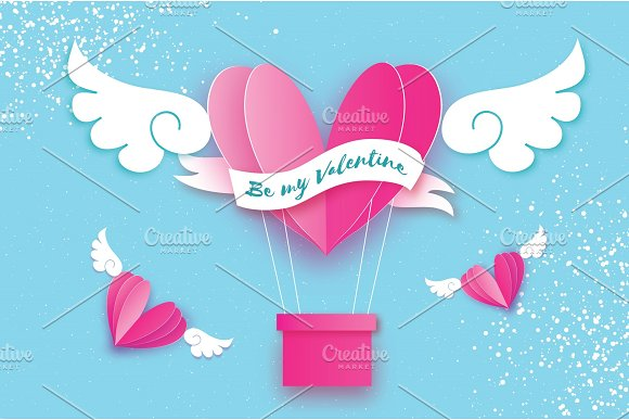 Happy Valentine day. Heart Pink hot air balloon flying. Love in paper cut style. Origami heart and angel wings. Winged heart. Ribbon tape for text. Romantic Holidays. 14 February.