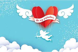 Flying Cupid - little angel. Love Pink Heart in paper cut style. Origami boy - Cherub. Red hot air balloon flying. Love, angel wings on blue sky. Happy Valentine day. Romantic Holidays. 14 February.