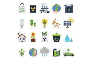Vector icons set on ecology theme. Green life elements