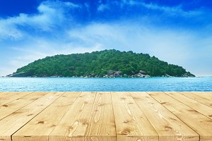 Wooden table on a background of sea