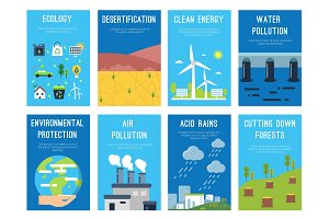 Concept infographic cards at ecology theme. Eco labels with place for your text
