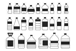 Monochrome pictures set of plastic bottles. Symbols of packaging