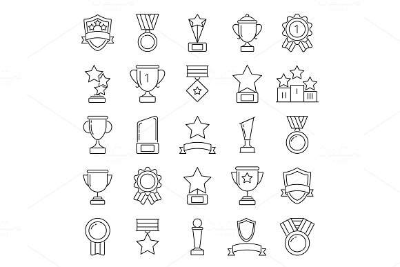 Mono line pictures set of cups and trophies