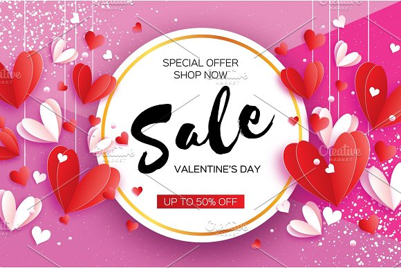 Happy Valentine's day. Sale offer. Origami red, white hearts in paper cut style on magenta. Circle frame. Text. Shop market poster. Romantic Holidays. Love. 14 February.