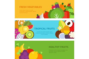 Horizontal banners with flat illustrations of healthy fruits and vegetables