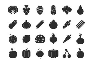 Different vegetables and fruits in flat style