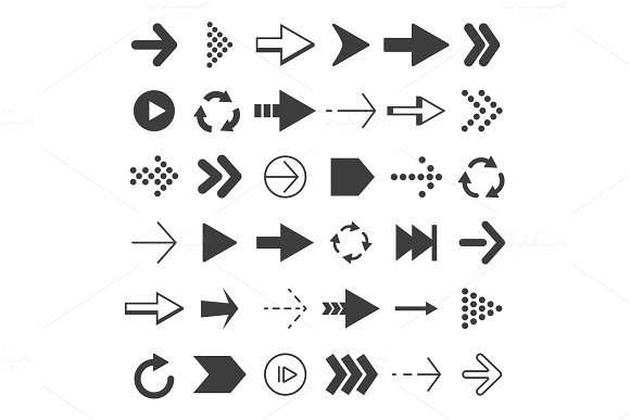 Black Arrows Set Vector Pictures Isolate