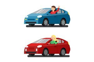 Illustration of male and female drivers in cars. Vector pictures in flat style