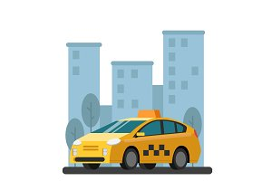 Illustrations of taxi car. Vector picture in flat style