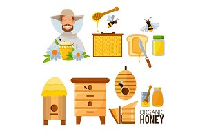 Cartoon illustrations set of beekeeper, beehive and bees