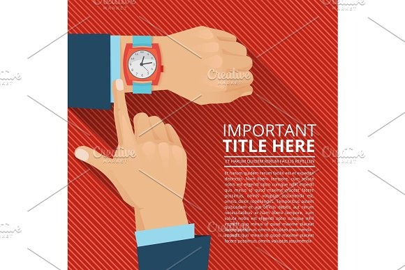 Businessman looking on the hand watch. Vector poster
