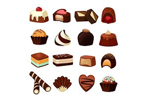 Chocolate desserts. Illustrations of sweets and candy