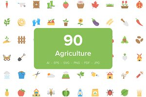 90 Agriculture Flat Vector Icons
