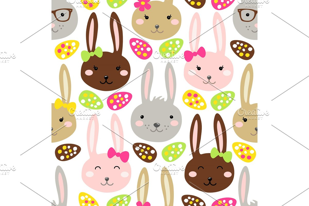Cute Easter seamless pattern design with funny cartoon characters of bunnies