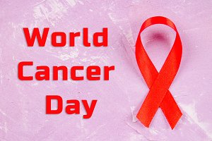 World Cancer Day Awareness ribbon. February 4.
