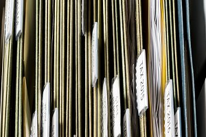 Home filing system for official documents organized in folders