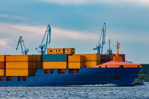 Blue container ship