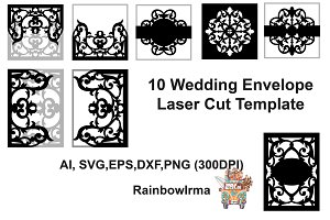 10 Wedding invitation envelope laser