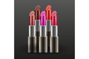 Lipsticks on dark background. Different colors