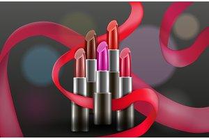 Vector design concept with lipsticks on dark background