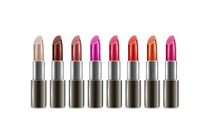 Realistick lipsticks with different colors