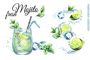 Fresh Mojito. Watercolor collection