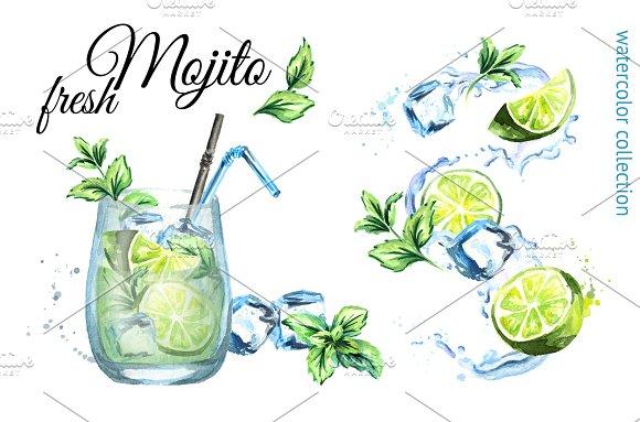 Fresh Mojito. Watercolor collection