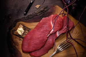 Raw Beef steak, fresh meat