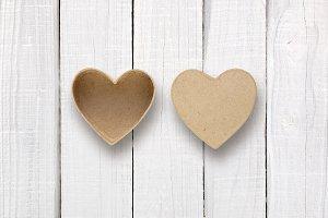 Empty box in shape of heart